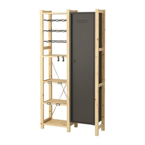 ivar 2 sections shelves cabinet chest pine grey 92x30x179 cm ikea. Black Bedroom Furniture Sets. Home Design Ideas