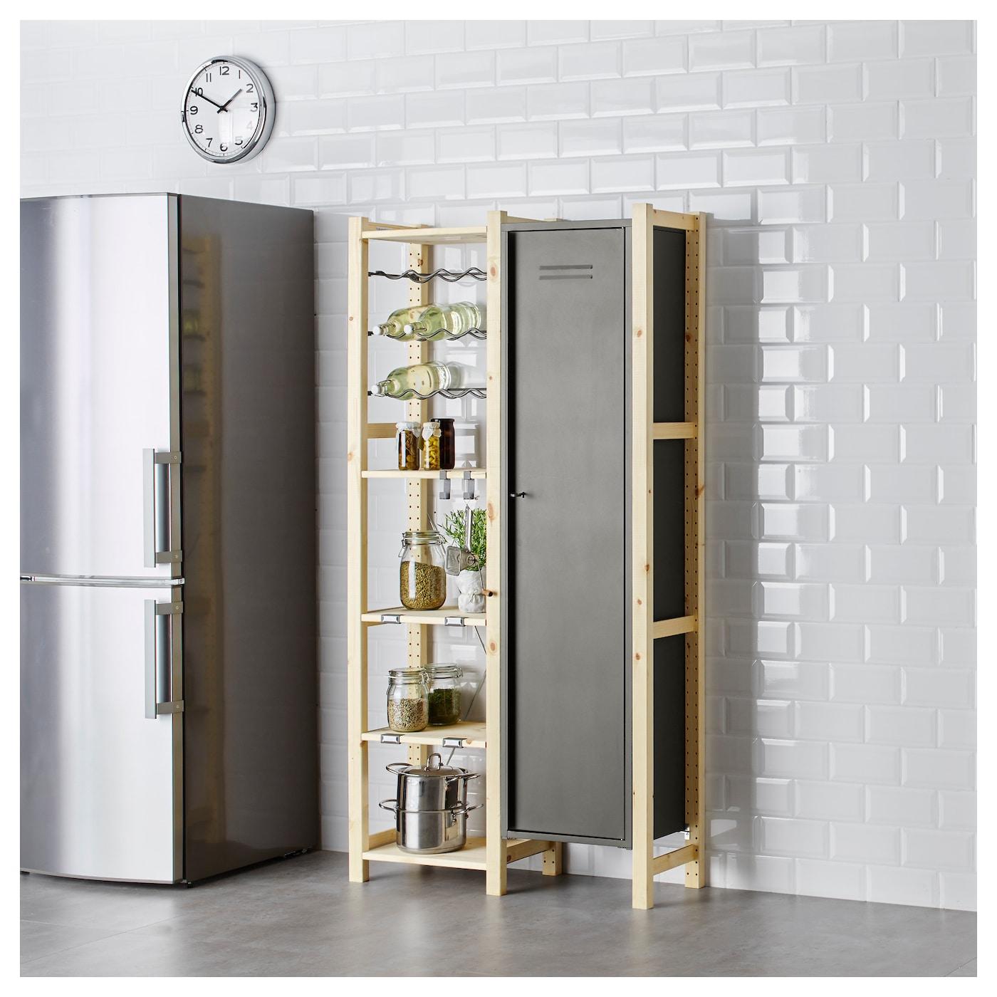 ivar 2 sections shelves cabinet chest pine grey 92x30x179. Black Bedroom Furniture Sets. Home Design Ideas