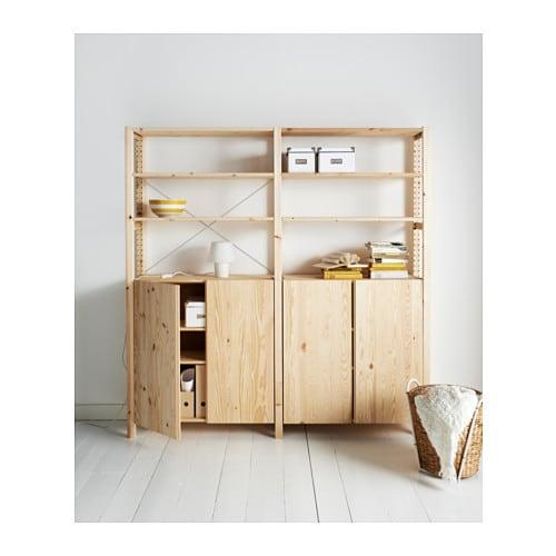 ivar 2 sections shelves cabinet pine 174x30x179 cm ikea