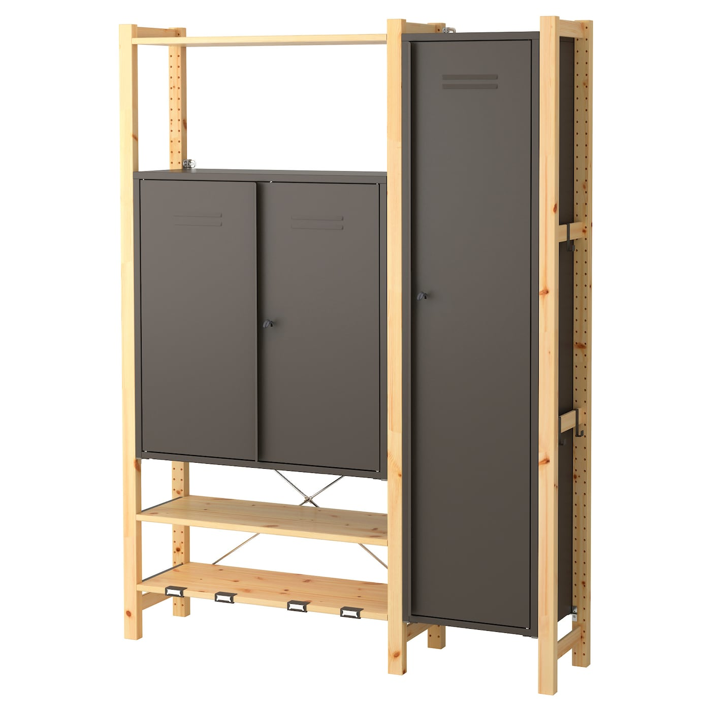 ivar 2 sections shelves cabinets pine grey 134x30x179 cm ikea. Black Bedroom Furniture Sets. Home Design Ideas