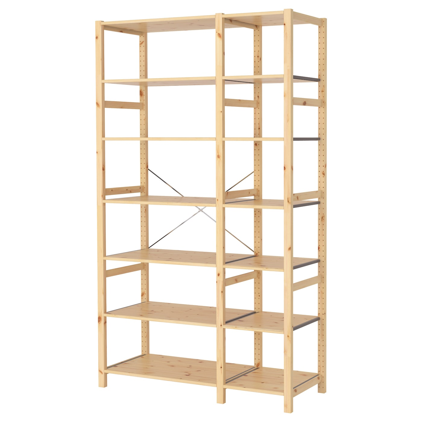 ivar 2 sections shelves pine 134x50x226 cm ikea. Black Bedroom Furniture Sets. Home Design Ideas