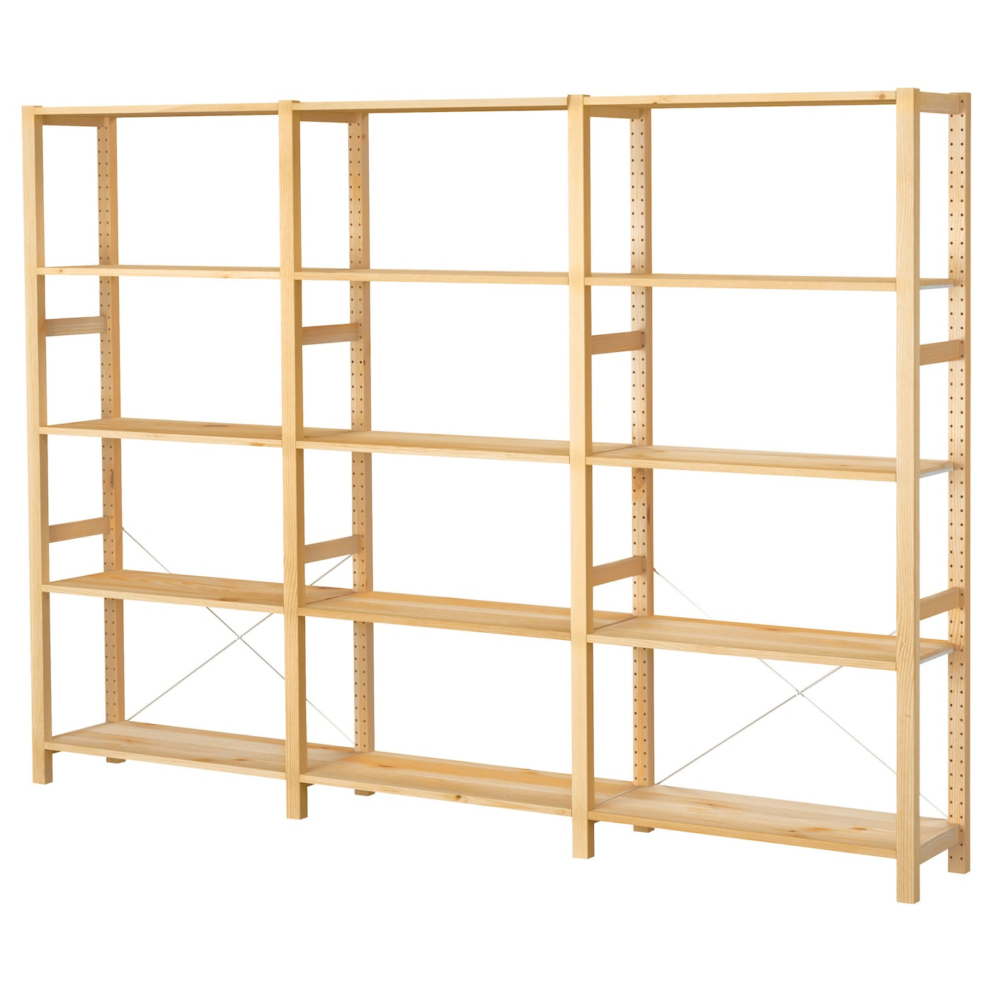 ivar 3 sections shelves pine 259x30x179 cm ikea. Black Bedroom Furniture Sets. Home Design Ideas