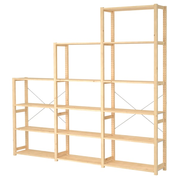 IVAR 3 sections/shelves, pine, 259x30x226 cm