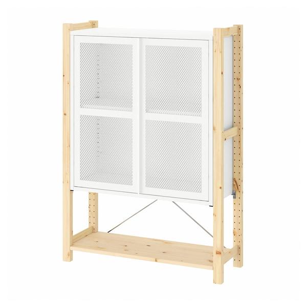 IVAR Cabinet with doors, pine/white mesh, 89x30x124 cm