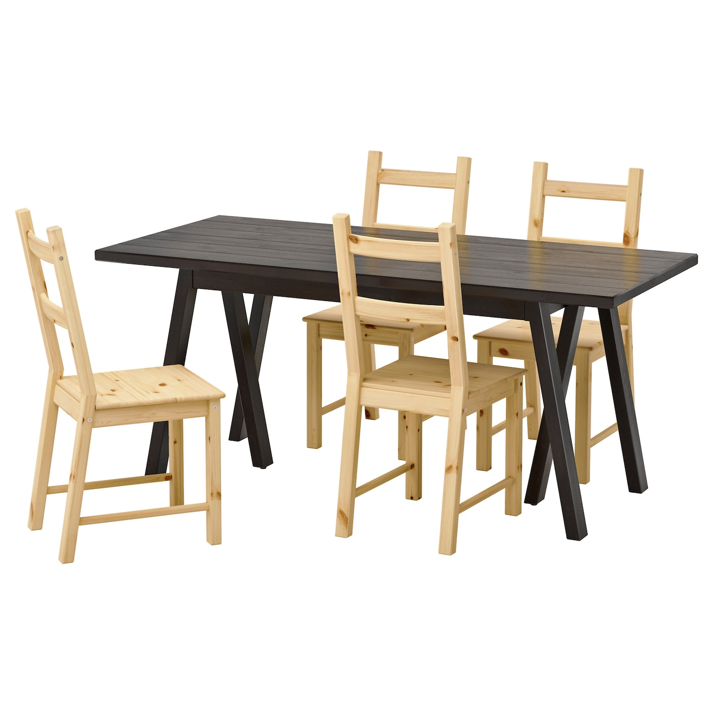 Ivar ryggestad grebbestad table and 4 chairs black pine for Set de table ikea