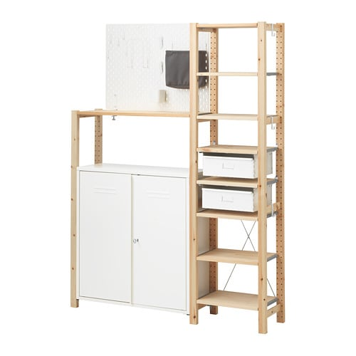 Ivar sk 197 dis 2 sections shelves cabinet pine white 134x30x179 cm ikea