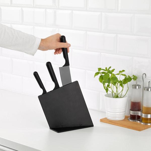 JÄMFÖRA Knife block with 3 knives, black