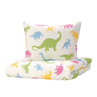 JÄTTELIK Quilt cover and pillowcase, dinosaur/multicolour, 150x200/50x80 cm