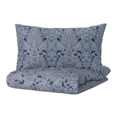 JÄTTEVALLMO Duvet cover and 2 pillowcases, dark blue/white, 200x200/50x80 cm