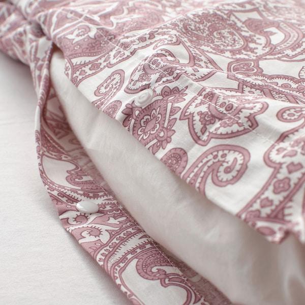 JÄTTEVALLMO Quilt cover and 2 pillowcases, white/dark pink, 200x200/50x80 cm