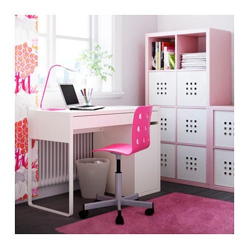 Jules junior desk chair pink silver colour ikea for Bureau fille