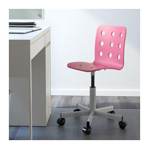 JULES Junior desk chair Pink silver colour IKEA