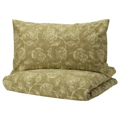 JUNIMAGNOLIA Quilt cover and pillowcase, green/white, 150x200/50x80 cm
