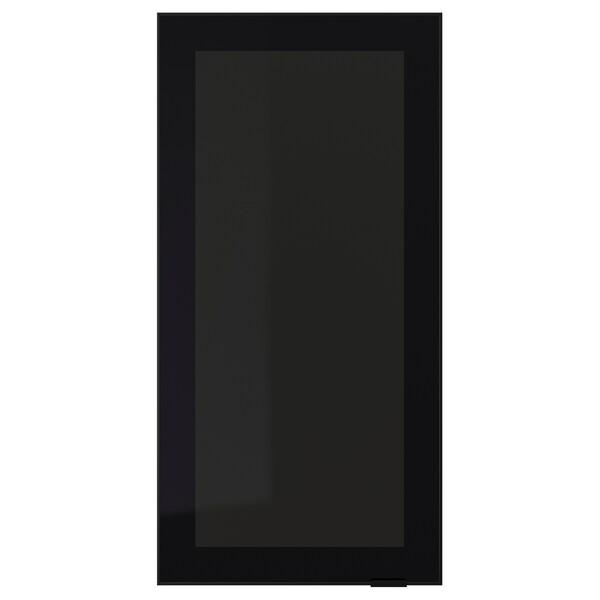 JUTIS Glass door, smoked glass/black, 40x80 cm