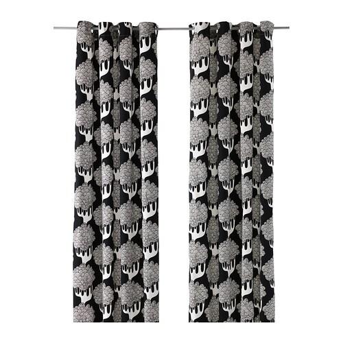 KAJSAMIA Curtains, 1 pair, black