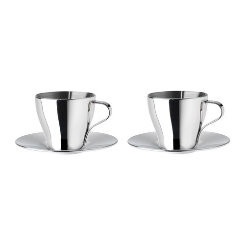 IKEA KALASET espresso cup and saucer Double cup walls keep your espresso hot and the outside cool.