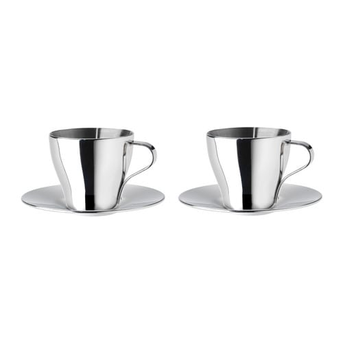 KALASET Espresso cup and saucer IKEA Double cup walls keep your espresso hot and the outside cool.