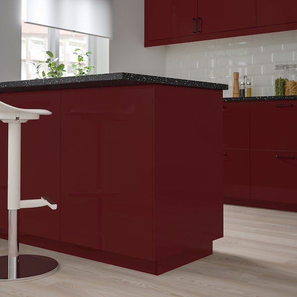 KALLARP Cover panel, high-gloss dark red-brown, 62x240 cm
