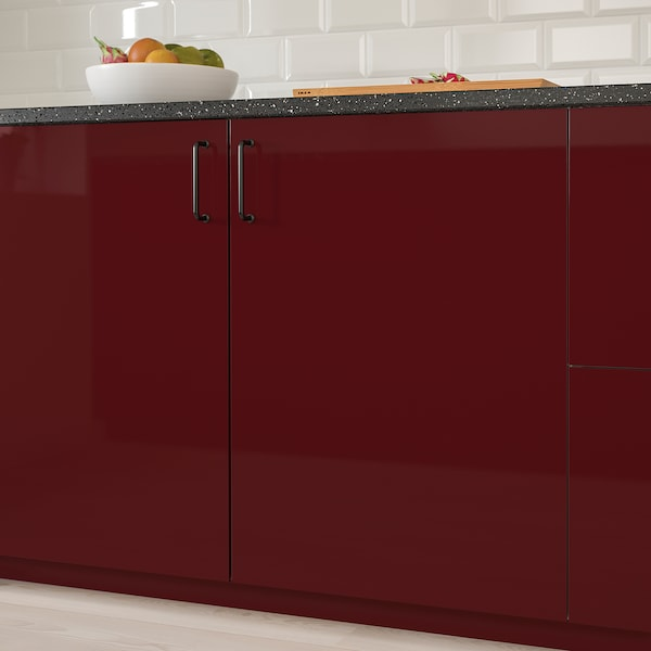 KALLARP Door, high-gloss dark red-brown, 40x100 cm