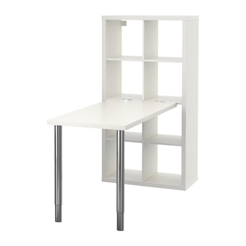 Kallax desk combination white chrome plated 77 x 147 cm ikea - Mobile ikea kallax ...