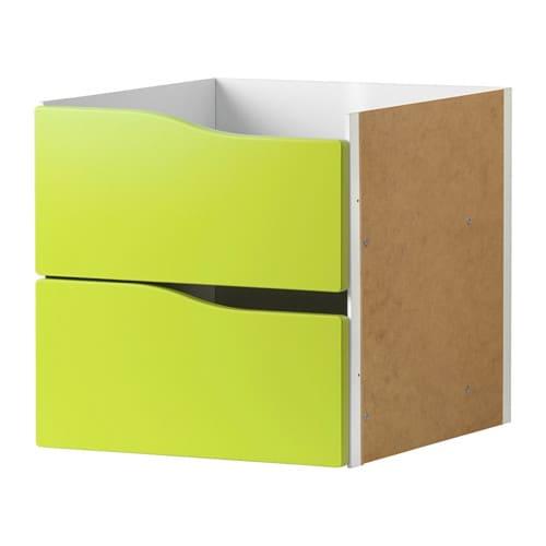 Kallax insert with 2 drawers light green 33x33 cm ikea for Ikea schubladen organizer
