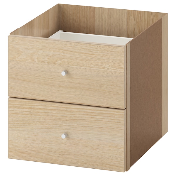 KALLAX Insert with 2 drawers, white stained oak effect, 33x33 cm