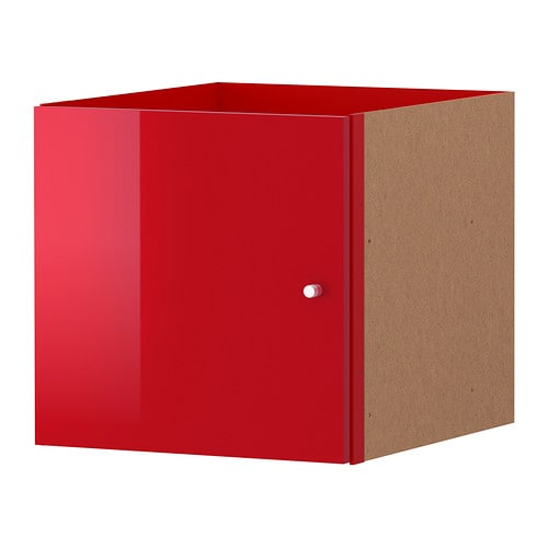 IKEA KALLAX insert with door The high-gloss surfaces reflect light and give a vibrant look.