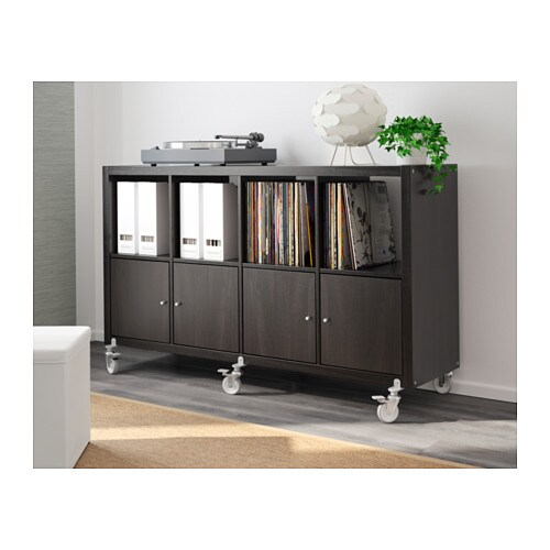 kallax shelving unit 4 doors castors black brown 147x89 cm. Black Bedroom Furniture Sets. Home Design Ideas
