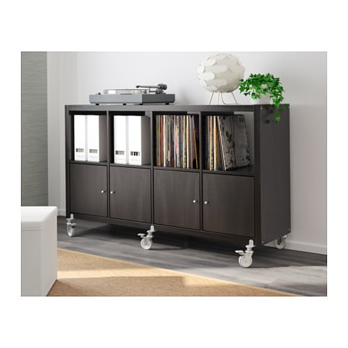 kallax shelving unit 4 doors castors black brown 147x89 cm ikea. Black Bedroom Furniture Sets. Home Design Ideas