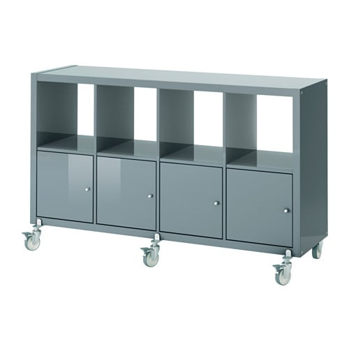 kallax shelving unit 4 doors castors high gloss grey. Black Bedroom Furniture Sets. Home Design Ideas