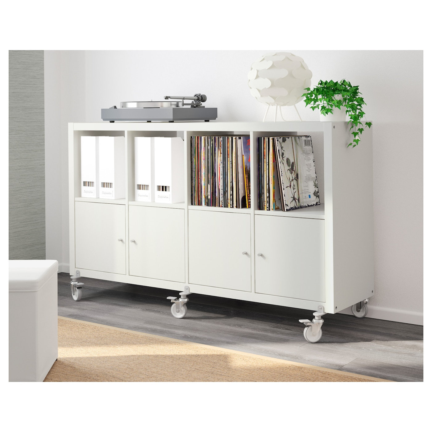 kallax shelving unit 4 doors castors white 147 x 89 cm ikea. Black Bedroom Furniture Sets. Home Design Ideas