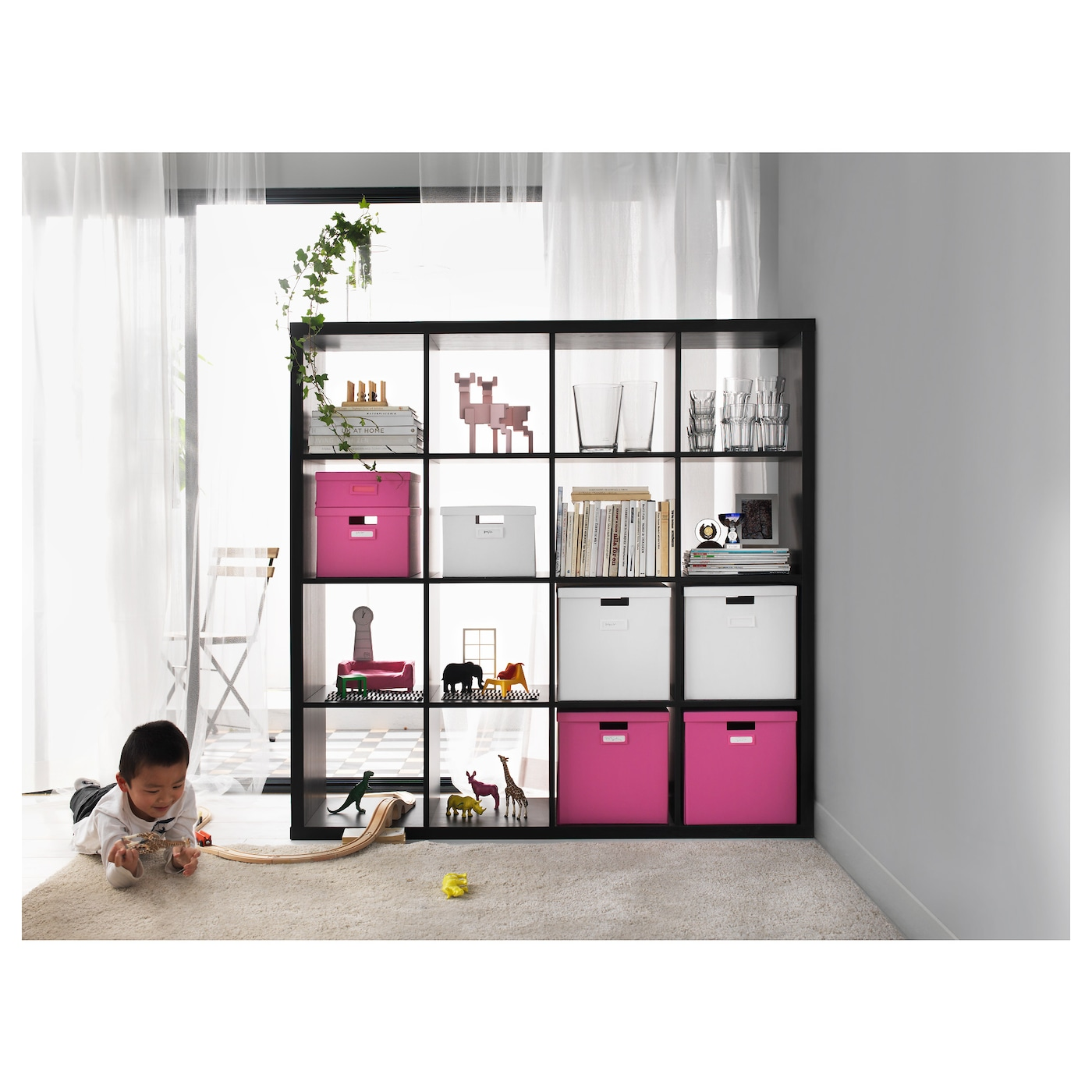 KALLAX Shelving unit Black-brown 147x147 cm - IKEA