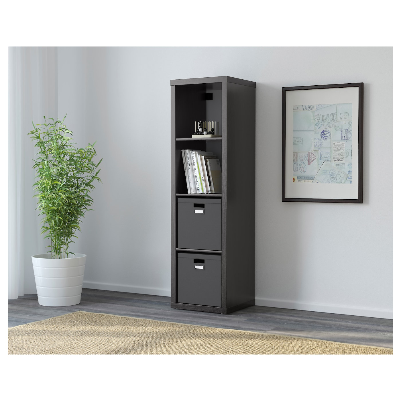 kallax shelving unit black brown 42 x 147 cm ikea. Black Bedroom Furniture Sets. Home Design Ideas