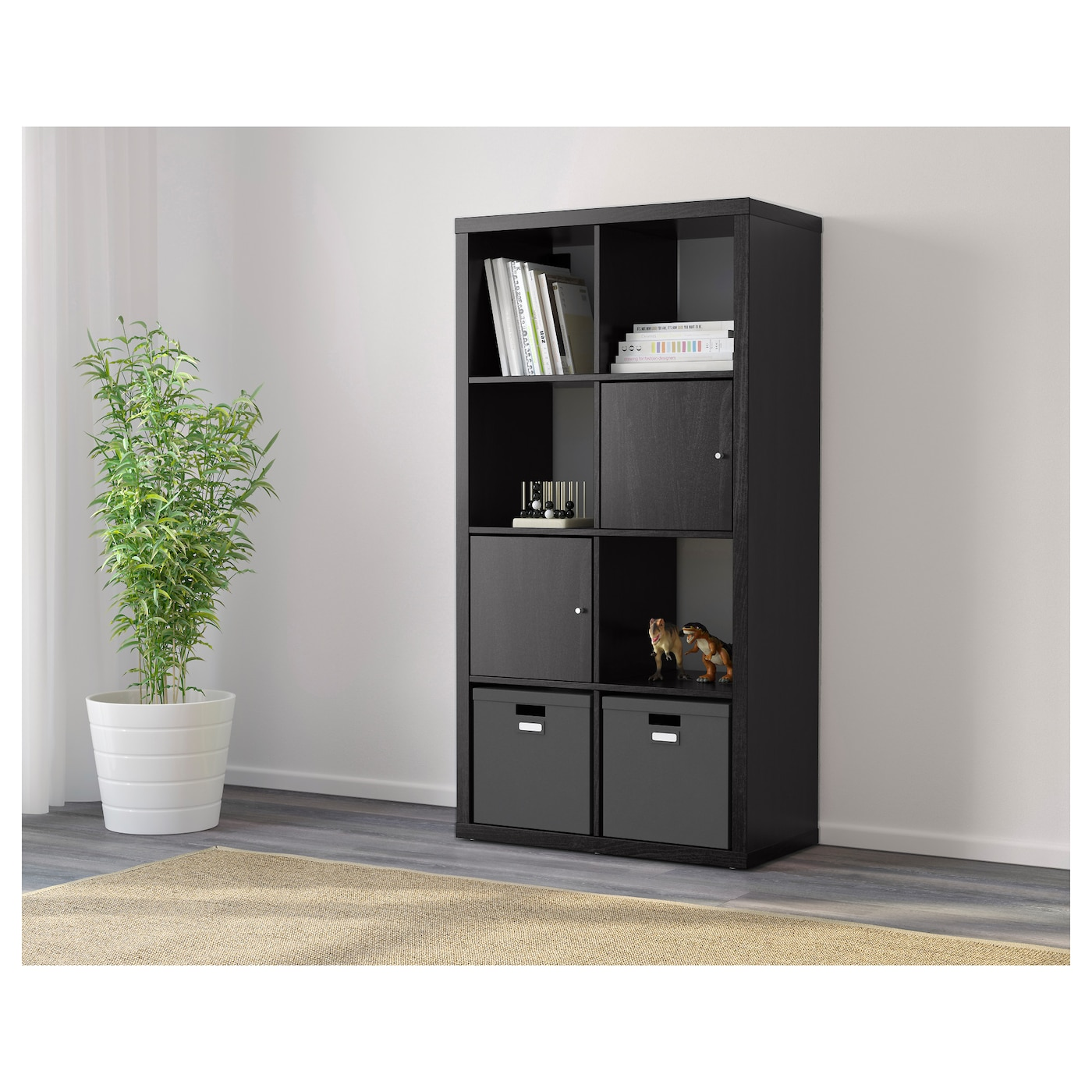 kallax shelving unit black brown 77x147 cm ikea. Black Bedroom Furniture Sets. Home Design Ideas