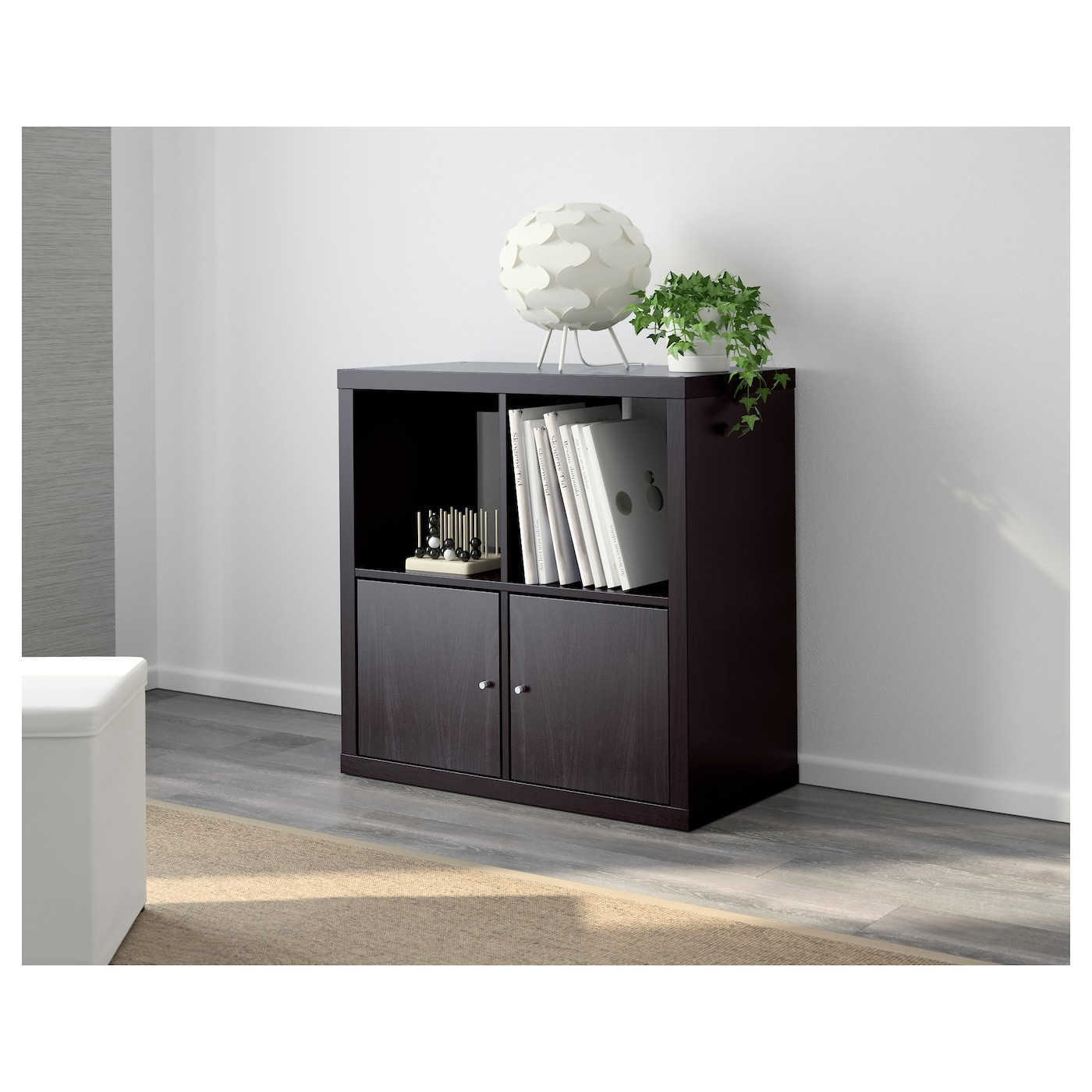 kallax shelving unit black brown 77x77 cm ikea. Black Bedroom Furniture Sets. Home Design Ideas