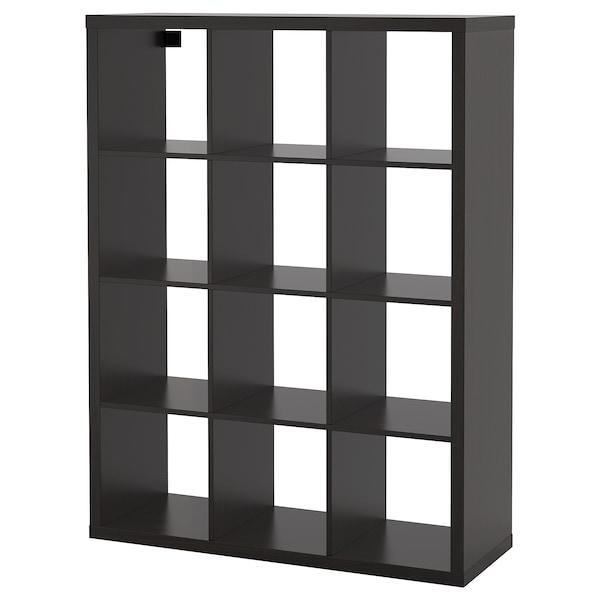 KALLAX Shelving unit, black-brown, 112x147 cm