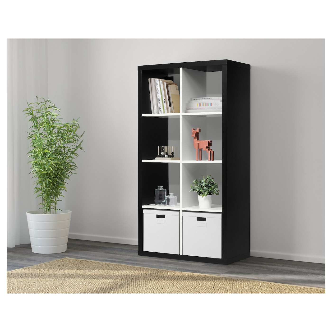 kallax shelving unit black white 77 x 147 cm ikea. Black Bedroom Furniture Sets. Home Design Ideas