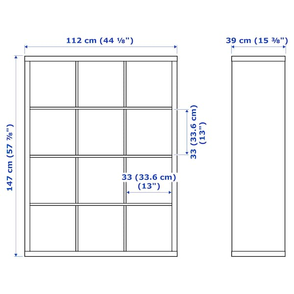 KALLAX Shelving unit, grey/wood effect, 112x147 cm