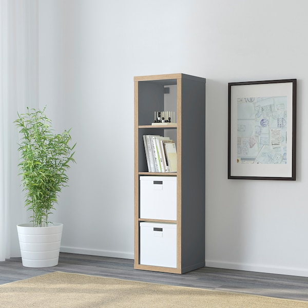KALLAX Shelving unit, grey/wood effect, 42x147 cm