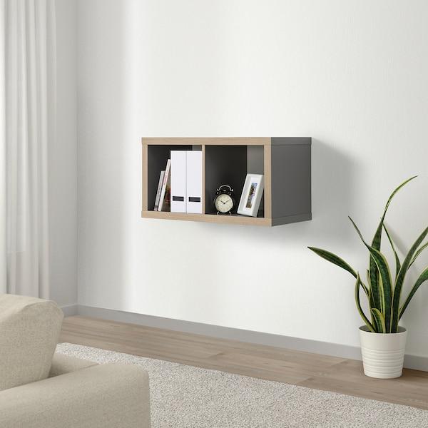 KALLAX Shelving unit, grey/wood effect, 77x42 cm