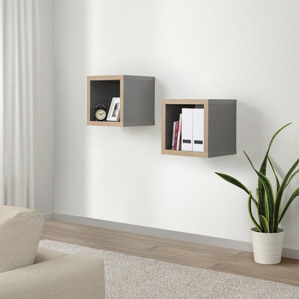 KALLAX Shelving unit, grey/wood effect, 42x42 cm