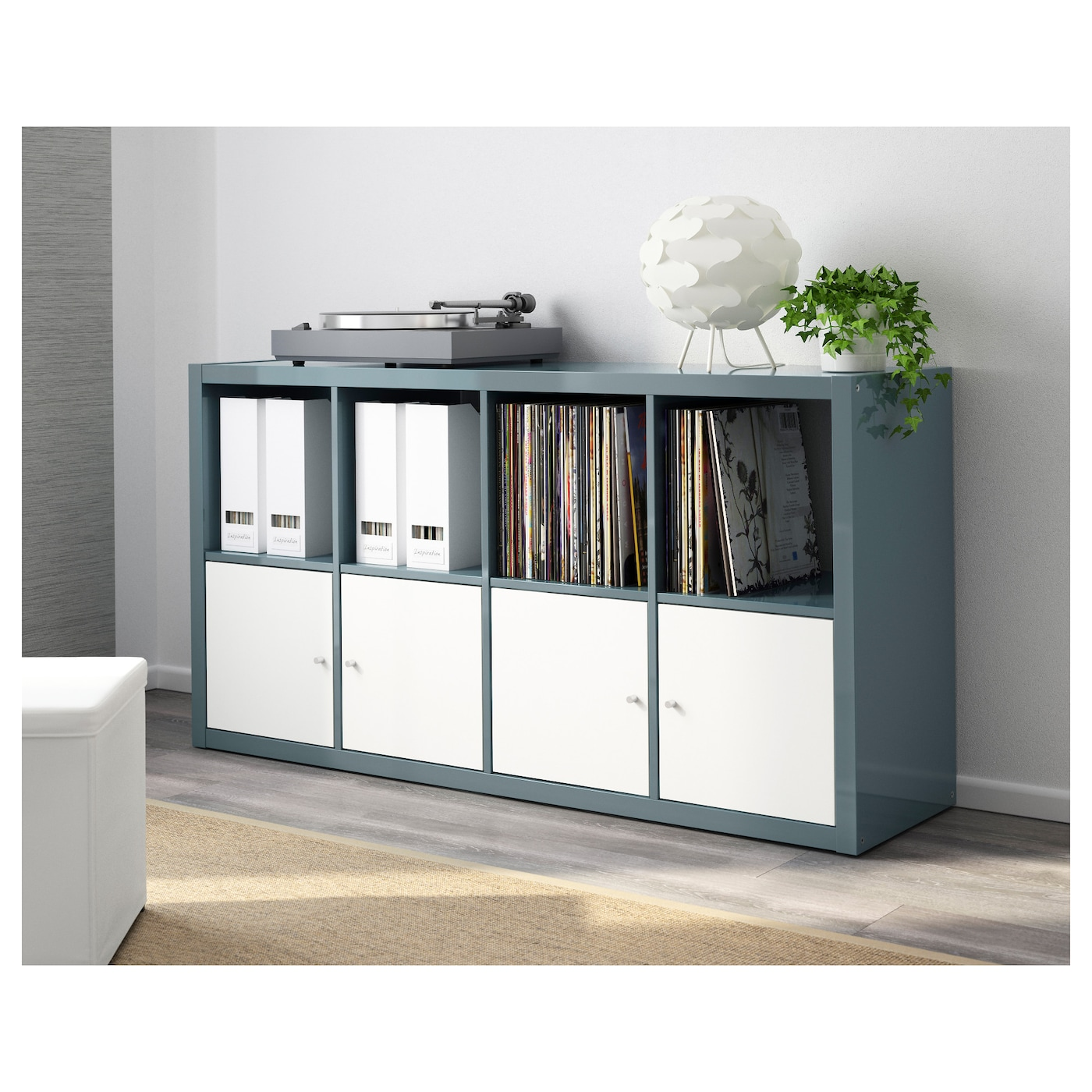 kallax shelving unit high gloss grey turquoise 77 x 147 cm. Black Bedroom Furniture Sets. Home Design Ideas