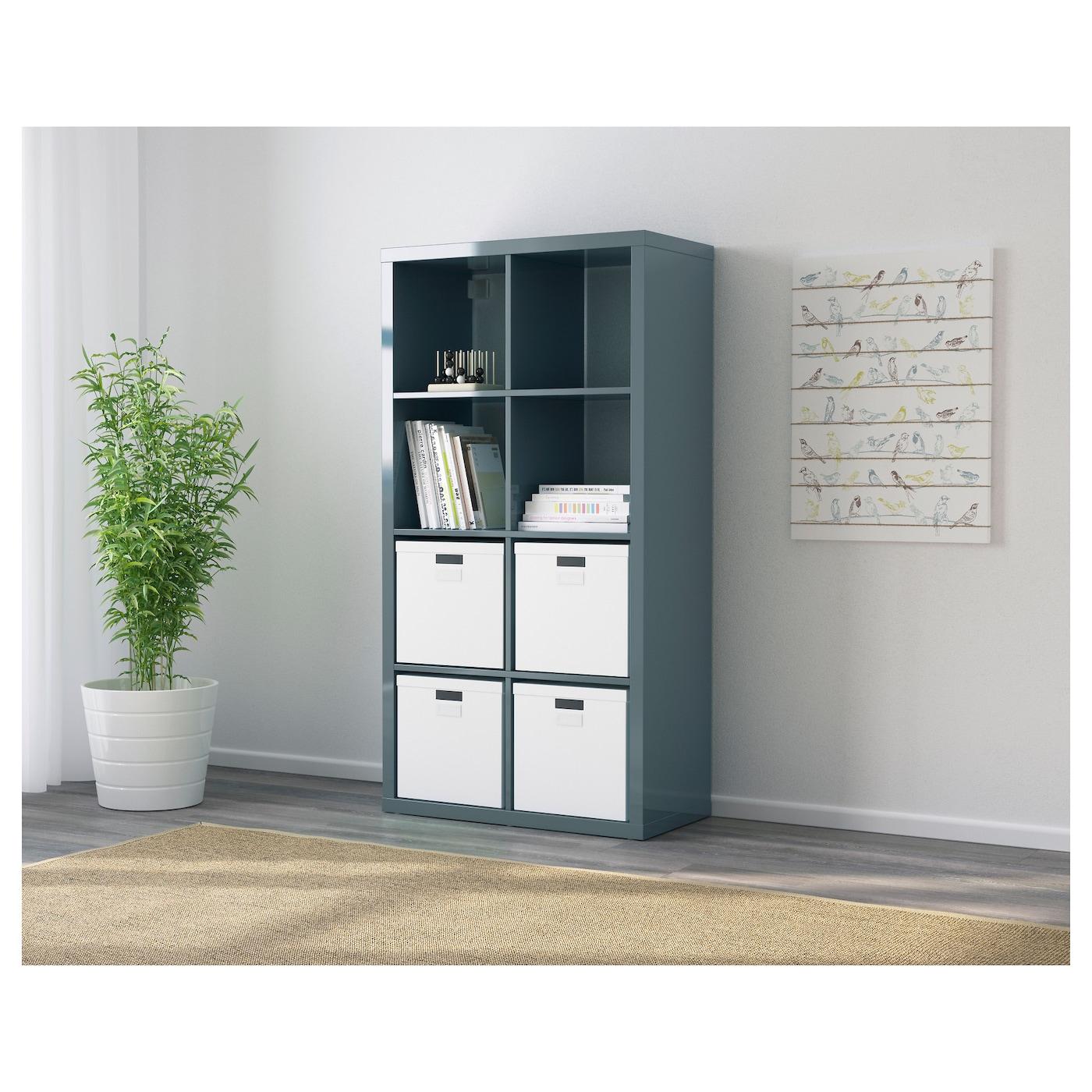 Kallax shelving unit high gloss grey turquoise 77 x 147 cm - Colonne ikea kallax ...
