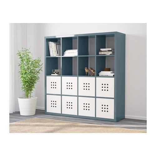 kallax shelving unit high gloss grey turquoise 147x147 cm ikea. Black Bedroom Furniture Sets. Home Design Ideas