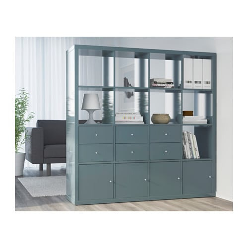 KALLAX Shelving unit High-gloss grey-turquoise 147x147 cm ...