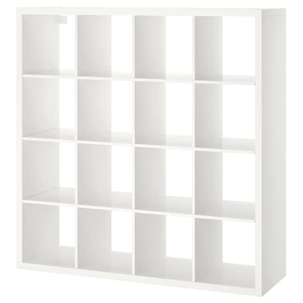 KALLAX Shelving unit, high-gloss white, 147x147 cm
