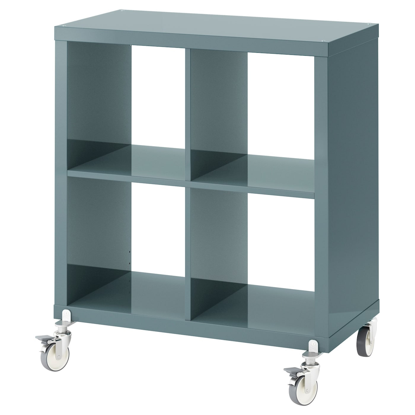 Kallax shelving unit on castors high gloss grey turquoise for Etagere 50 cm de large