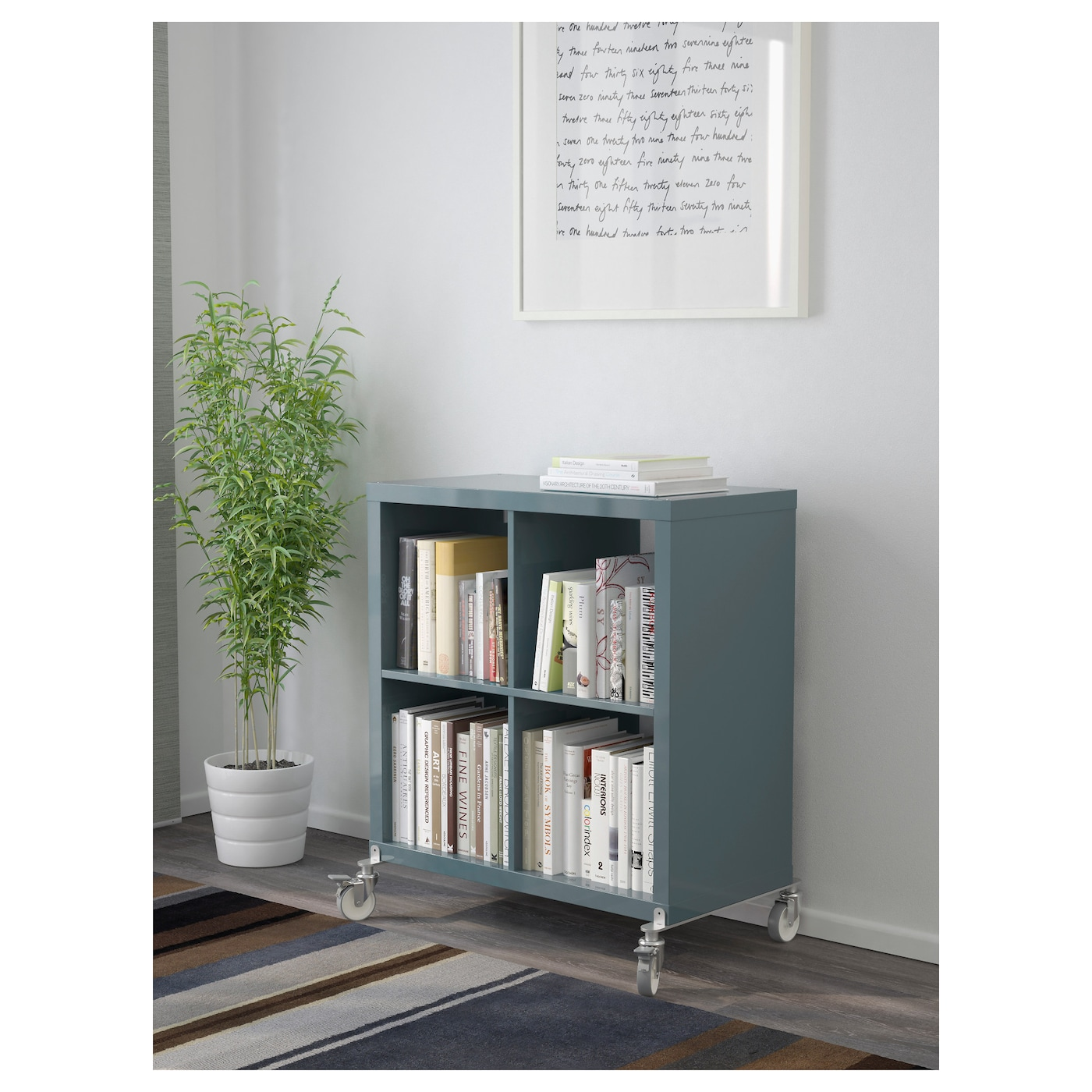 Kallax shelving unit on castors high gloss grey turquoise for Ikea turquoise shelf