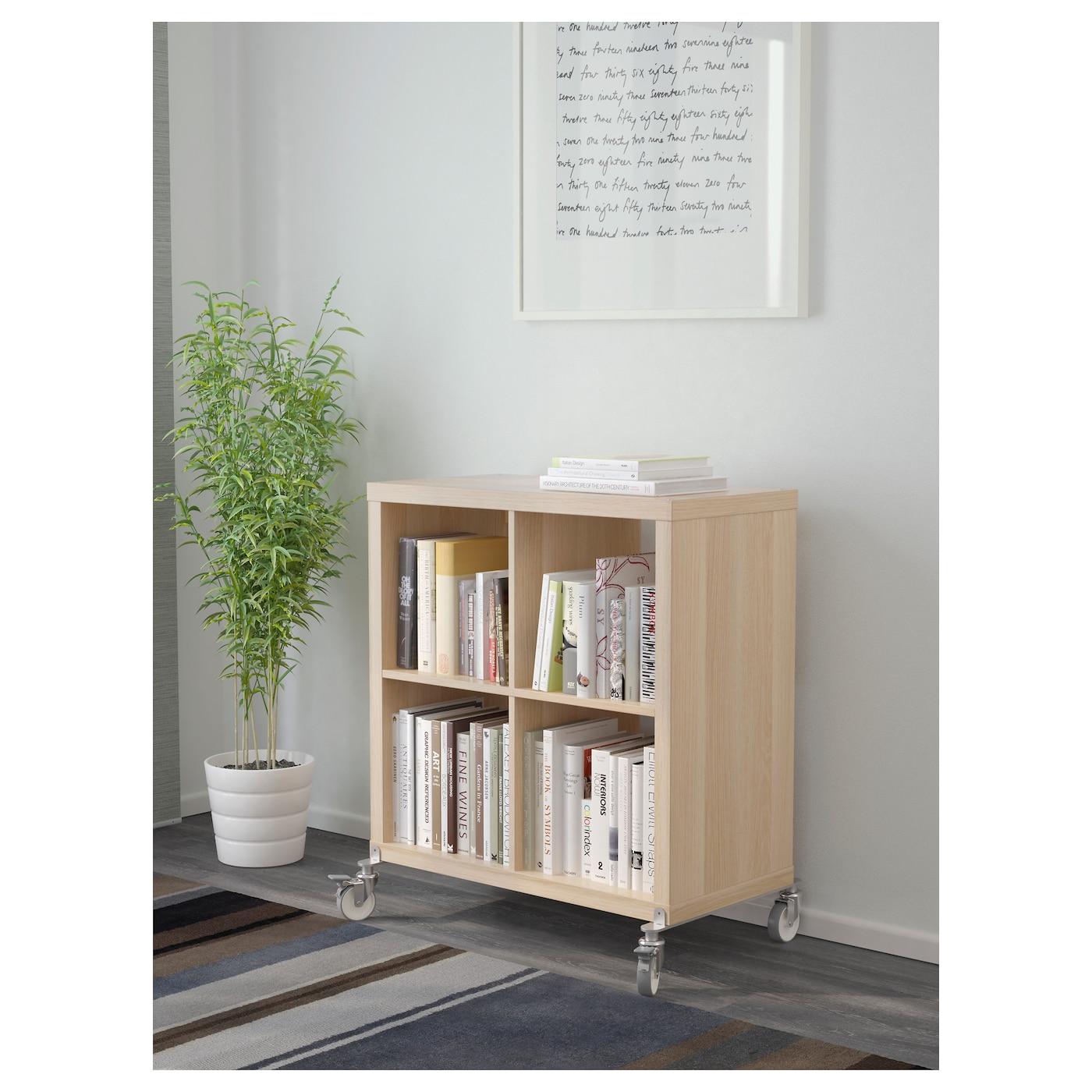 kallax shelving unit on castors white stained oak effect 77 x 89 cm ikea. Black Bedroom Furniture Sets. Home Design Ideas