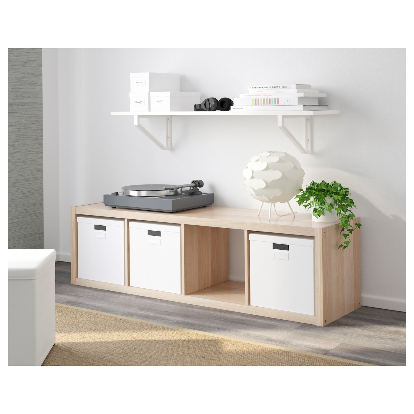 kallax shelving unit white stained oak effect 42 x 147 cm ikea. Black Bedroom Furniture Sets. Home Design Ideas